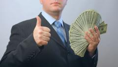 Joy person with money, lots of  hundred dollars banknotes Stock Footage