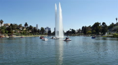 Water Fountain in Echo Park with Downtown Los Angeles  - 4096 x 2160  4K Stock Footage