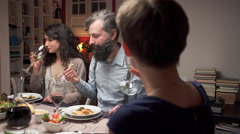 People have fun dining Stock Footage