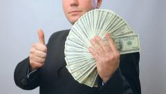 Joy person man with money, lots of  hundred dollar banknotes Stock Footage