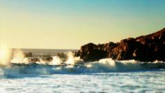Waves Crashing on Cliffs Stock Footage
