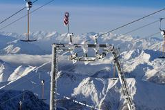 Frosted ski lift Stock Photos