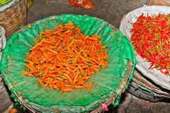 Stock Photo of fresh Chili is offered in the Flower Market in Chinatown in bangkok