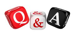 Questions and answers red white black dice Stock Photos