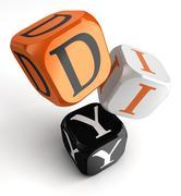 Diy orange black dice blocks Stock Photos
