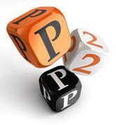 P2p orange black dice blocks - stock photo