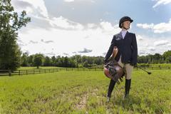Blone Equestrian Model - stock photo