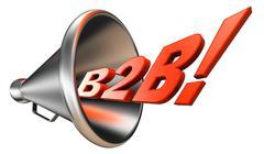 B2b orange word in bullhorn Stock Photos