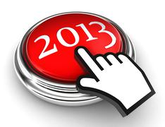 new year red button and cursor hand - stock photo