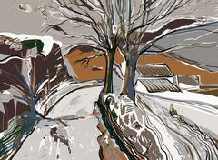 Stock Illustration of digital painting of winter landscape