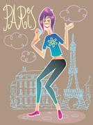 Stock Illustration of Fashionable tourist in Paris eating ice cream