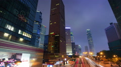 evening light traffic road 4k time lapse from hong kong - stock footage
