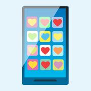 Smartphone with multi-colored hearts on the screen - stock illustration