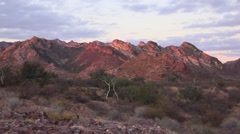 Mountains in Sonoran Desert, Mexico at sunset Stock Footage
