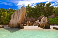 Famous beach Source d'Argent at Seychelles Stock Photos
