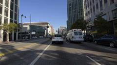 Driving Plates Multi Angle LA Wilshire Blvd 07 CAM1 Front Korea Town Eastboun Stock Footage