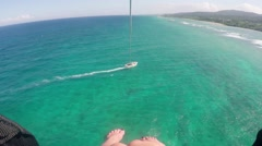 Aerial view parasailing over ocean Montego Bay, Jamaica - stock footage