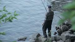 Fisherman Throws Fishing Tackles Stock Footage