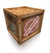 Wooden box crate with free shipping sign Stock Photos