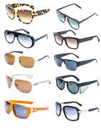Collection of colorful sunglasses on white background Stock Photos