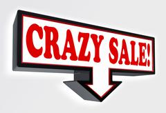 crazy sale red and black arrow sign - stock photo