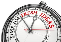 Time for fresh ideas concept clock Stock Photos