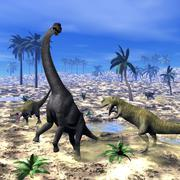 Allosaurus attacking brachiosaurus dinosaur - 3D render - stock illustration