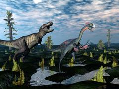 Tyrannosaurus rex attacking gigantoraptor dinosaur - 3D render Stock Illustration