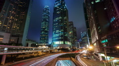 Night light hong kong traffic street 4k time lapse from bridge top Stock Footage