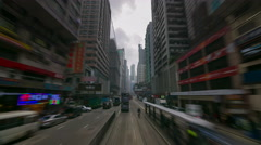 4k time lapse of tram traffic line road in hong kong china - stock footage