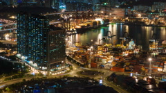 night light traffic port place 4k time lapse from hong kong - stock footage