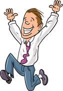 Cartoon office worker jumping for joy - stock illustration