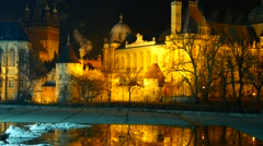 The famous Vajda Hunyad Castle in Budapest at wintertime Stock Footage