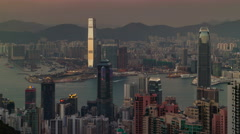 Day till night beautiful panorama 4k time lapse from hong kong Stock Footage