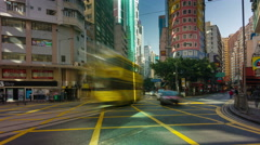 4k time lapse of extremely busy traffic street in hong kong - stock footage