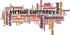 Virtual currency word cloud Stock Illustration
