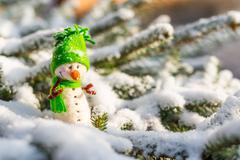 happy snowman on snow - stock photo