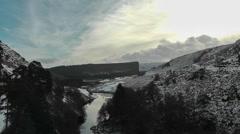 Snowy landscape seen from Craig Goch dam, Elan Valley, Wales Stock Footage