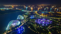 night light buildings and garden by the bay 4k time lapse from singapore city - stock footage