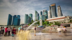 4k time lapse of the merlion fountain from singapore Stock Footage