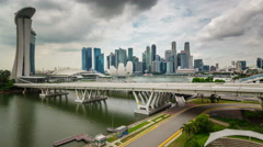 Day light singapore city famous flyer view 4k time lapse Stock Footage
