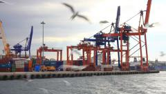 Seagulls following the ferry sailing out docks Stock Footage