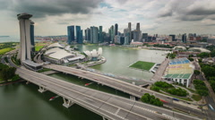 Singapore city panorama from flyer day light 4k time lapse Stock Footage