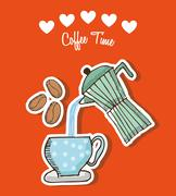 coffee time design, vector illustration eps10 graphic - stock illustration