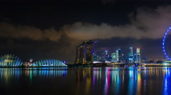 singapore city night light famous panoramic view 4k time lapse from the bay - stock footage