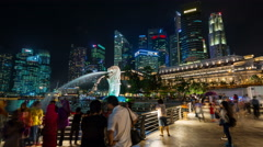 Famous singapore city walking area night light 4k time lapse Stock Footage