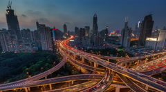 Stock Video Footage of sunset traffic interchange crossroad 4k time lapse from shanghai city