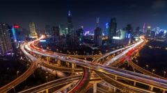 Stock Video Footage of night light traffic interchange road 4k time lapse from shanghai city