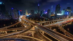 night light traffic multi-level junction 4k time lapse from shanghai city - stock footage