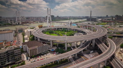 Sunny day panoramic traffic flyover road 4k time lapse from shanghai city Stock Footage